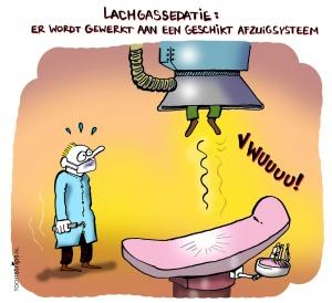 Cartoon voor het Nederlands Tandartsenblad over veilig omgaan met lachgas-verdoving.