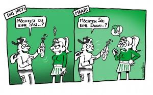 Voor een leerboek Duits van Uitgeverij Meulenhof. Een uitwerking in zwart:wit:steunkleur.